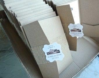 Rustic Burlap Barn Wedding Invitation Pocketfold Set