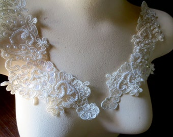 PAIR of Beaded Appliques in Ivory Creme Lace for Bridal, Headbands, Sashes PR 612