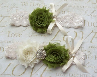 Sale Wedding Garter,Bridal Garter,Garter Set,Olive Green Wedding,Olive Garter,Plus Size Bride,Plus Size Garter,Lace Garter Set,Green Garter