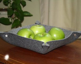 Square Felted Bowl Catchall Valet Tray 5MM Thick Merino Wool Felt Eco-Friendly Catch All Napkin Basket Desk Accessory Office Decor Organizer