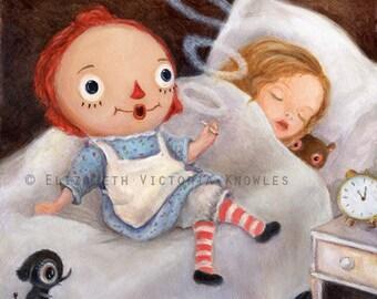 Smoking Raggedy Ann Doll Art, Funny Art Print,  Pop Surrealism, Lowbrow Art, Whimsical Art, Childrens Decor, Illustration Art