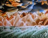 ACEO Storm on the Horizon - Encaustic Wax Original Art - Caramel Brown, Green, Blue