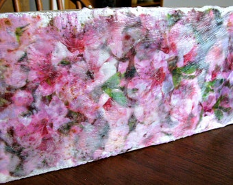 Pink Floral Explosion. Original Encaustic (Wax) Collage Painting on Solid Wood. 12 x 5.5 x .75 in. SFA (Small Format Art) Home Decor
