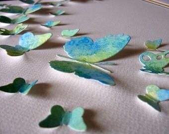 11x14 Handpainted Watercoloured Butterflies 3D Paper Art. Cerulean Blue, Yellow, Hint of Green. Hand Painted Paper Wall Art, Decor