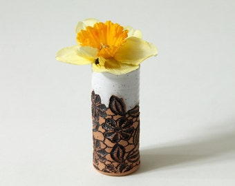 Handmade Mini Vase in White, Daisy Lace Pattern