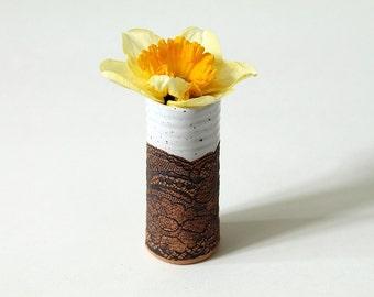 Handmade Mini Vase in White, Scalloped Lace Pattern