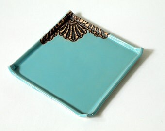 Handmade Moroccan Lace Square Saucer, Dessert or Appetizer Plate in Turquoise