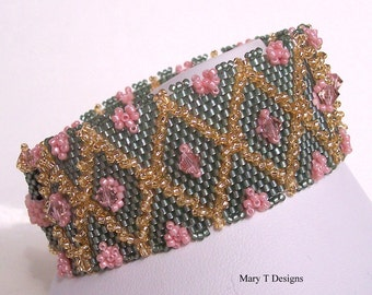 HALF OFF SALE - Rose Trellis Beadwoven Cuff Bracelet...March 2013 Etsy Beadweavers Challenge...Green...Gold
