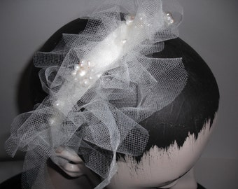 Pearl flowers in a cloud of tulle, bridal headband,off white beaded headpiece.