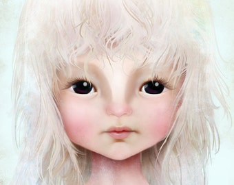Fine Art Print - 'Darkheart' - Little Dark Eyed Girl with Blonde Hair - 11x17 or 13x19 Large Sized Giclee Print Solocosmo