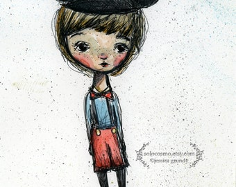 "Art Print - ""Happy Boy"" - Medium Sized Fine Art Print - 8.5x11 or 8x10  Premium Giclee Print - Watercolor painting"