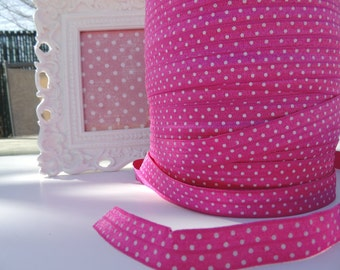 "5 Yards of 5/8"" Printed Fold Over Elastics FOE - Fuchsia with White Dots"