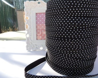 "5 Yards of  5/8"" Printed Fold Over Elastics FOE - Black with White Dots"