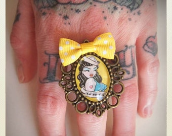 Old School Pin Up- Style Sailor Girl ring, yellow bow