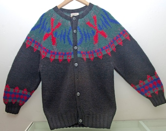 Vintage Banana Republic Sweater Oversized Fair Isle Cardigan Button Up Knit