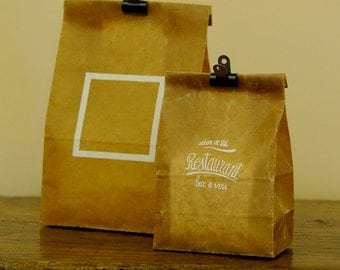 wax paper bag set - restaurant and white frame - set of 5 - small / medium