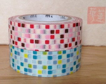 SALE mt washi masking tape -tiles- pink and green -