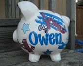 Airplanes Personalized Piggy Bank-Size Large