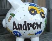 Large-Custom Personalized Piggy Bank-Construction Theme