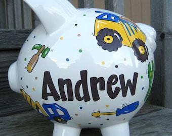 Large-Custom Personalized Piggy Bank-Construction Theme