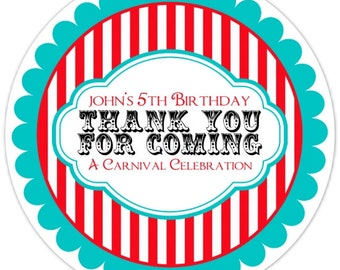 36 Carnival Birthday Labels, Personalized Circus Stickers, Birthday Decoration, Carnival Favors, Circus Party Favors
