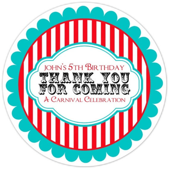Carnival Birthday Labels Personalized Circus Stickers
