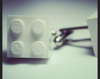 Made from Lego (r)  Virgin White Brick Cufflinks