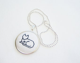 Cat Necklace, Cross Stitch Embroidered Necklace, SALE Black Cat Pendant, Silver Ball Chain Handstitched Needlework Pendant, Needlework Kitty