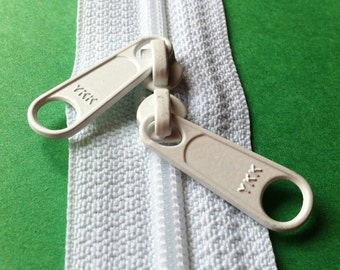 ONE -18 Inch 4.5mm YKK Zippers Color 501 WHITE with Two Long Pull Head to Head Sliders