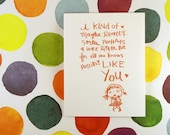 I kind of like you (GIRL) Greeting Card - Perfect card for the too early to say i love couples & commitment-phobes