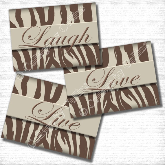 Items Similar To Brown Zebra Print Art Wall Decor LIVE LOVE LAUGH Chocolate  Teen Girl Room