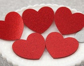 Heart Cabochons - 45mm Red Glitter Heart Acrylic or Resin Cabochons - 4 pc set