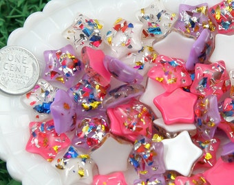 17mm Party Fun Confetti Stars Resin Cabochons - 8 pc set
