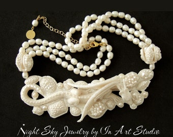Dragon Necklace - White Pearl Dragon Jewelry - Fantasy Spring Summer Wedding Jewelry