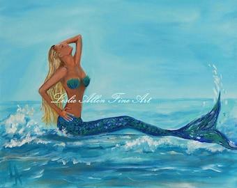 """Mermaid Art Print Giclee Mermaids Paintings Mermaid Blonde Mermaid Theme Mermaid Decor Wall Art  """"Sunbathing Mermaid"""" Leslie Allen Fine Art"""