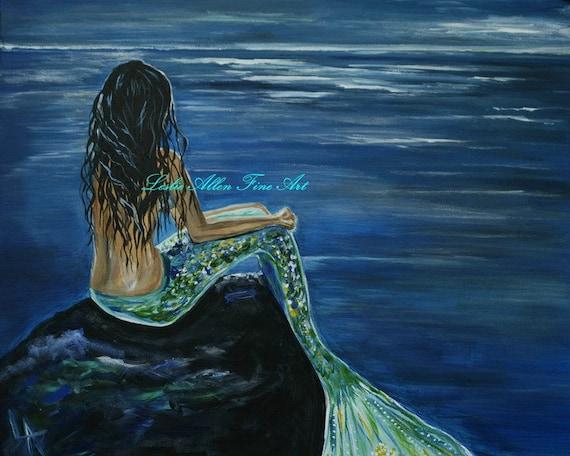 "Mermaid Painting Mermaids Girl Girls Ocean Beach Seascape Fantasy Magical Art Print Decor Child  ""Enchanted Mermaid"" Leslie Allen Fine art"