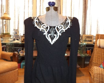 Gorgeous 1980's Black Beaded Sequined Pat Sandler for Wellmore Santana Knit Sweater Dress Cocktail Evening Formal Small Medium
