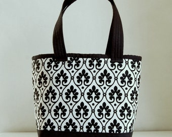 Black Scroll Fabric Tote Bag - READY TO SHIP