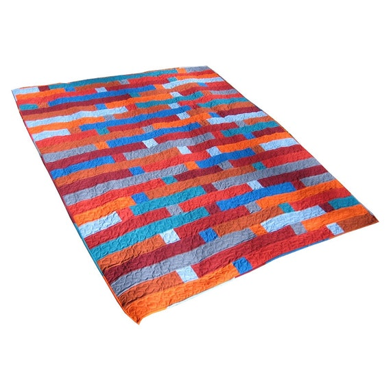 Shifting Stripes - Modern Patchwork Bed Quilt in Shades of Orange, Red, and Blue - ON SALE