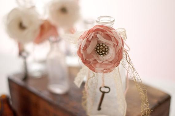 Antique glass bottle with shabby chic flower, skeleton key, wedding table decoration, ivory and blush