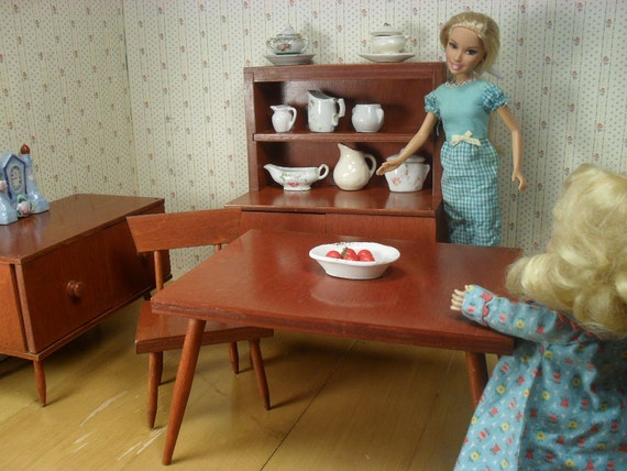 On Sale - Hall's Lifetime Toys Doll Furniture - Modern Dining Room in Maple Finish - Play Scale
