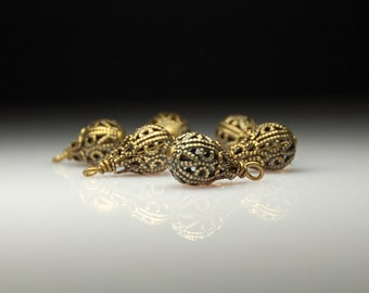 Vintage Style Bead Dangles Antiqued Brass FIligree Set of Six MX16