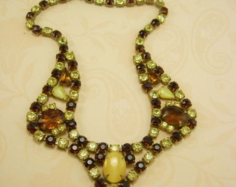 Vintage CZECH Yellow Rhinestone necklace LARGE glass stones