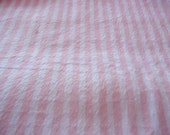 Pink and White Striped Minky Fabric. One Yard