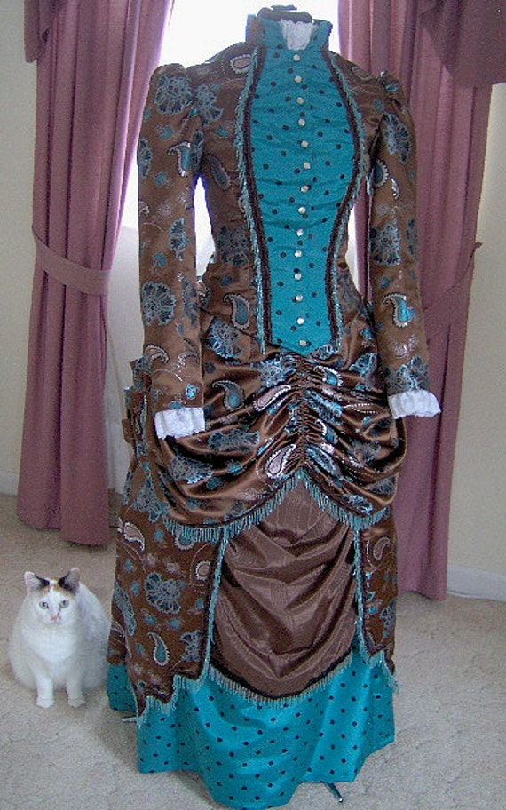Victorian Costume Dresses & Skirts for Sale FOR ORDERS ONLY - 1800s Victorian Dress 1880s Bustle Gown Skirt Bodice - Old Wild West Sass - Gothic Bridal $550.00 AT vintagedancer.com