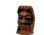 Hand Carved Bust Man Exotic Wood Jamaica Wood Statue Vintage 1960