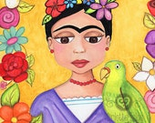 Frida Kahlo with parrot - PRINT (8 x 10)  from Original mixed media painting by Mirlette Islas