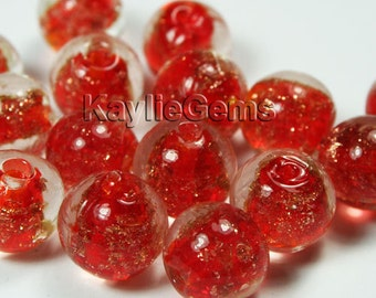 12mm Round Lampwork Beads Gold Sand Red-12pcs
