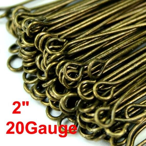"""Antique Brass Eye Pins 50mm 2"""" 20 Gauge Heavy Strong -PN-E50x0.8AB -100pcs"""