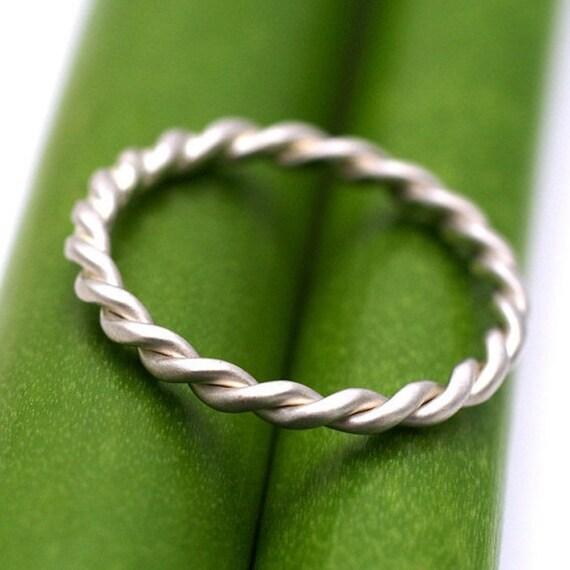 18k 2mm Gold Twist- Modern Wedding Band Or Stacking Ring